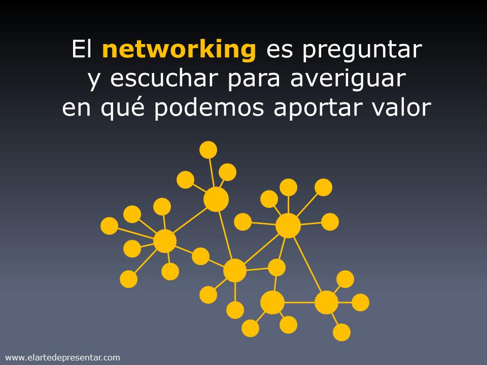 El Networking es preguntar y escuchar para averiguar en qué podemos aportar valor
