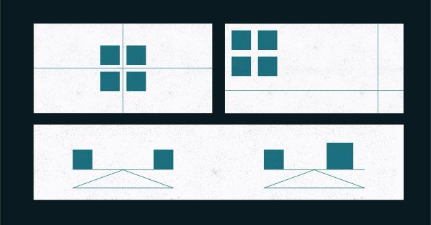 Ejemplos de triángulos grandes y pequeños. D.A. Dondis, pág. 111 y pág. 110 fig 5.8 y fig 5.9