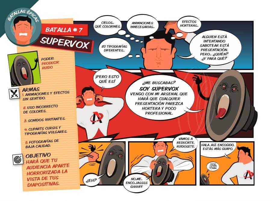 El superhéroe de las presentaciones se enfrenta en su 7ª batalla épica contra el ruidoso Supervox