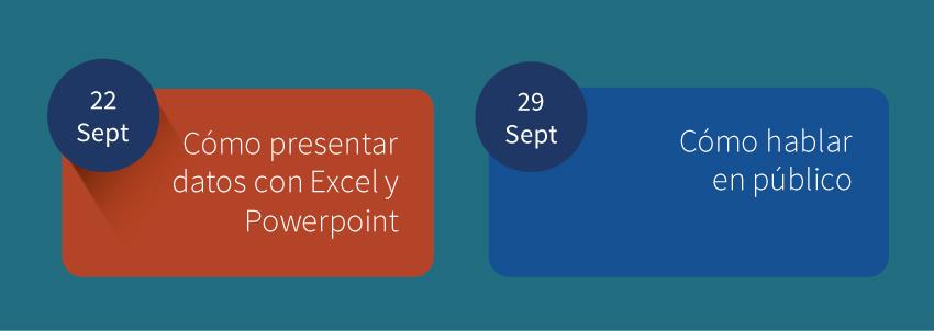 ¡Últimas plazas para nuestros próximos cursos en abierto! Cómo presentar datos con Excel y PowerPoint y Hablar en Público